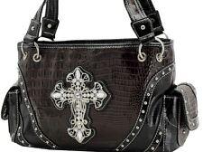 Rhinestone  Cross Shoulder Handbag Dark Brown & Black Faux Croc Snake NWT
