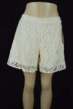 Mudd Women Large Ivory Cream Lace Lined Casual Loose Fitted Shorts Elastic Waist