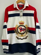 Polo Ralph Lauren Mens Red Blue Striped Crown Yacht Rugby Shirt Size M
