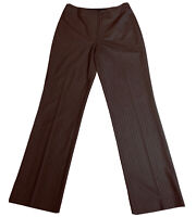 JONES NEW YORK Womens Brown Dress Pants Size 4 STRETCH Pinstripe Trousers Work