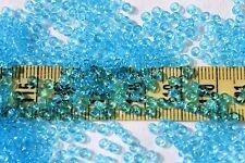 8/0 Czech Trans Light Medium Aqua Seed Beads Crafts Jewelry Making / 1oz