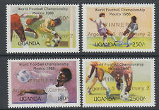 XG-T262 UGANDA IND - Football, 1986 Mexico World Cup Winners Overprinted MNH Set