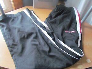 Hudson Bay CANADA 2005 Olympics Black Track Splash zipper sides bottom Pants XL