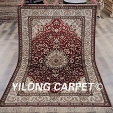 Yilong 4'x6' Small Red Silk Hand Knotted Carpets Oriental Home Handmade Rug 683B