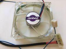 ANTEC 3-PIN BLUE LED LIGHT CASE FAN 80 x 80 x 25 MM CLEAR GENUINE COOLER SILENT