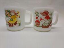 2) Vintage Glasbake Milk Glass Coffee Cup Mugs Flowers Apples Bonnets Braids