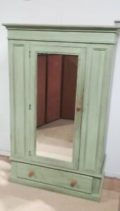 Solid Pine painted wardrobe armoire cupboard Full Mirror Drawer delivery poss