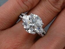 Near White Round Cut 7.8 mm Mm Moissanite cZ Engagement Ring 925 Silver