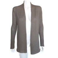 EVELYN 100% CASHMERE Brown Open Front Cardigan Sweater Petite Small PS - 7041