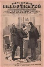POLICE Superintendent Removes Buttons of Delinquent Policeman, antique 1888