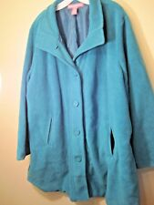 Women's Coat 2X Teal 6 Button front 100% Polyester by Women Within Slash pockets