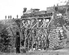 Photograph of a Civil War Train Engine on a Bridge In Virginia  Year 1865 8x10