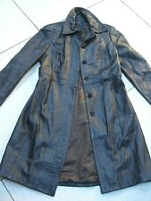 Ladies M&S AUTOGRAPH brown real leather COAT trench UK 12 10 duster long line