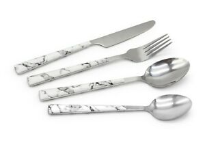 Stainless Steel Cutlery Sets Knife Fork Spoon Set Marble Handle Silver
