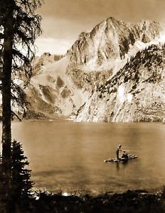 "1919 Men Fishing on a Raft, Colorado Old Photo 8.5"" x 11"" Reprint"