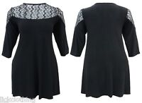 Womens Black Stretch Top Size 14-24 Pointed Hem Sides 3//4 Sleeve Ladies *LICK