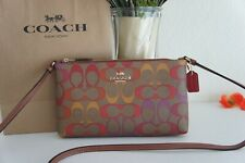 NWT COACH C1653 Zip Top Crossbody In Rainbow Signature Canvas Khaki Multi $198