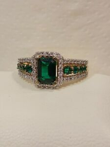 Yellow Gold Over Sterling Silver Emerald & Cubic Zirconia Ring Size 7