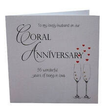 35th Coral Wedding Anniversary Card Lovely Husband Luxury Handmade 148mm x 148mm