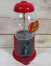 """Jelly Belly Gumball Machine Coin Operated Glass & Metal Candy Dispenser 9"""" Tall"""