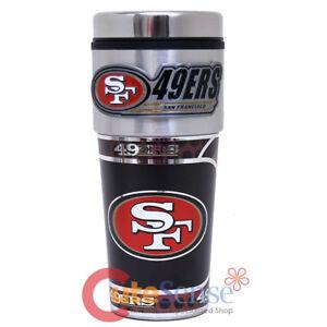 San Francisco 49ers Coffee Mug Travel Tumbler Cup NFL Metallic Logo with Emblem