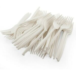 50,100 White Plastic Forks Strong Disposable Cutlery Birthday Wedding BBQ Party