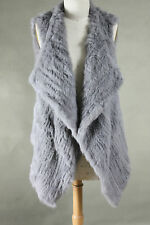 NEW 100% RABBIT FUR WATERFALL LONG VEST SILVER GREY Size S M L