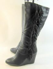 "Black 3.5"" High Wedge Heel Round Toe Knee Boots Side Frill Size 5"