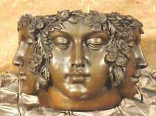 New listing Real Bronze Metal Urn Vase Face Flower Pot CannabisTablescape Motif Sculpture