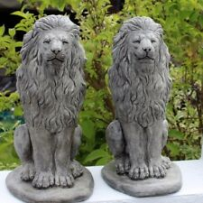 Stone Lion Statues, All Weather Gatepost Lions, Pair of Elegant Garden Ornaments