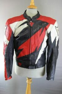 DAINESE ITALIAN MADE BLACK, RED & WHITE LEATHER BIKER JACKET WITH CE ARMOUR 40IN