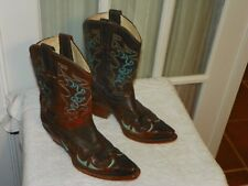 Corral R2501 Ladies Snip Toe Cowgirl Boots Brown Turquoise Leather Size 7.5 M