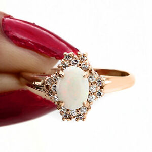 14K ROSE GOLD OVER OVAL CUT OPAL & Simulated SOLITAIRE ENGAGEMENT RING