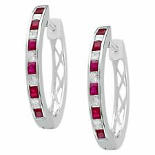 3/4 CT.T.W. Princess Cut Diamond and Ruby Channel Set Hoop in 14K White Gold