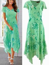 Apartes Kleid mit Blumendruck/Zipfelsaum Gr.48 mint bedruckt Neu 952846