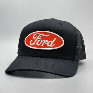 Ford Trucker Hat, Classic Red Embroidered Patch on Ford Hat, Black Baseball Cap