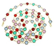 VINTAGE SWAROVSKI BEZEL SET MULTI COLOR CRYSTAL OPEN BACK NECKLACE BRACELET SET