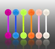 New Lot 6 x Flexi Glow In Dark Tongue Bars Piercing Flexible Bar UK Seller