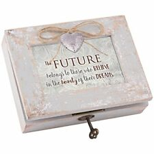 Believe in the Beauty Distressed Wood Locket Music Box Plays Wonderful World