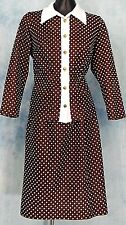 ReTrO MOD 70s VtG BiG COLLAR POLKA DOT SECRETARY SCOOTER DRESS SKiRT + JACKET