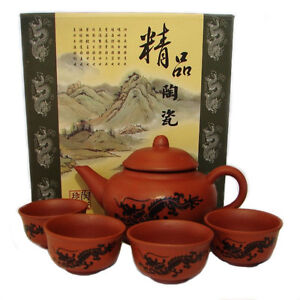 5PCS Oriental Chinese Traditional GongFu Tea Set  Original Ceramic Dragon Teaset