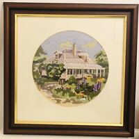 VTG Framed Hand Embroidery Long Stitch Country Cottage Picture Wool/Needle Art