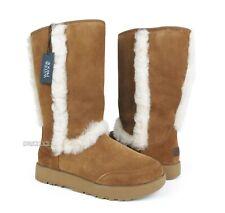 UGG Sundance Waterproof Chestnut Suede Fur Boots Womens Size 9 *NIB*