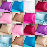 Plain Silk Satin Kissenbezug Bettwäsche Kissenbezug Cases Smooth Home Decor Neu
