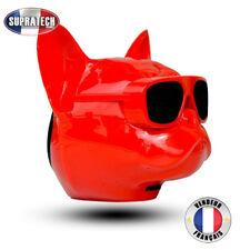 Mini Haut Parleur Stéréo Portable Bluetooth Forme Bulldog Rouge