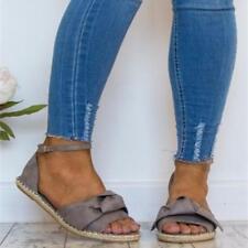 Women's Sandals Flat Espadrilles Summer Casual Peep Toe Slip On Gladiator Shoes