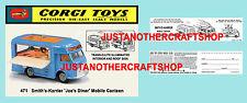 Corgi Toys 471 Smith's Karrier Mobile Canteen Instruction Leaflet & Poster Sign