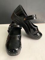 Womens Sanita Danish Clogs Size 7.5 Size 38 Black Leather Mary Janes