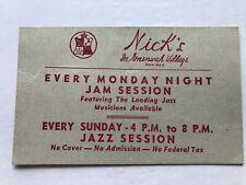 Vintage Nicks Greenwich Village Jazz Club Autographs Pee Wee-Miff-Muggsy + more