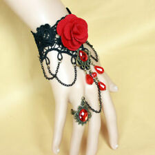 Gothic Victorian Romance Black Lace Red Rose Bracelet w/ ring